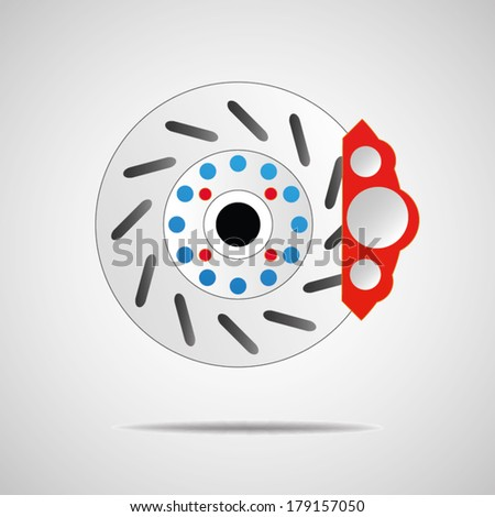 Front disk brake on car in process Car  system  - stock vector