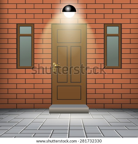 Front door of a red brick wall with windows. Vector illustration