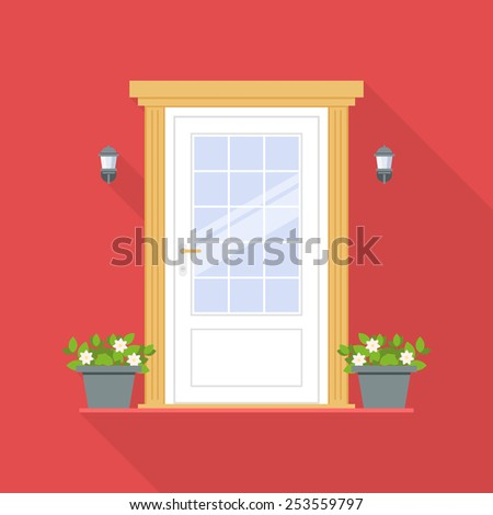 Front door with flowerpots and lanterns in flat design style isolated on red background. Vector illustration