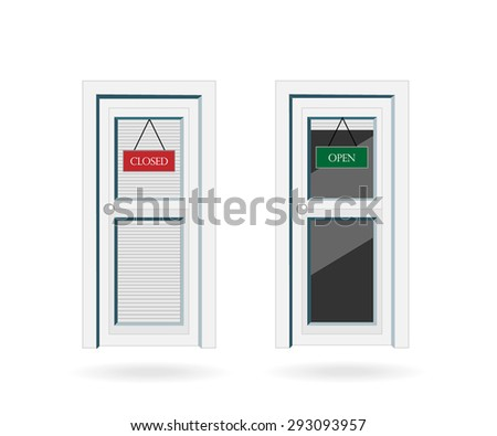 Front doors with open/closed signs in flat design style isolated on white.Vector illustration.