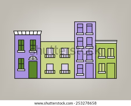 Front of colorful small town in green and purple tone - stock vector