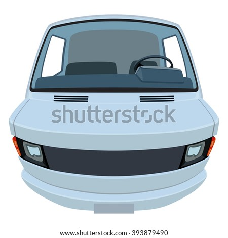 Front side of the light commercial vehicle on a white background - stock vector