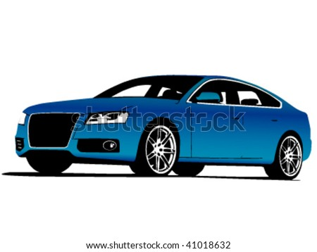 Frontside View Blue Exclusive Car Isolated Stock Vector - Audi car vector