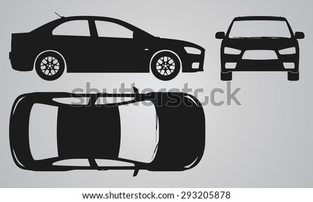 Front, top and side car projection. Flat illustration for designing icons  - stock vector