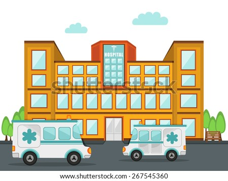Front view of a big hospital building with two ambulance standing outside. - stock vector