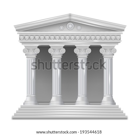 Front view of an antique greek temple. Vector - stock vector