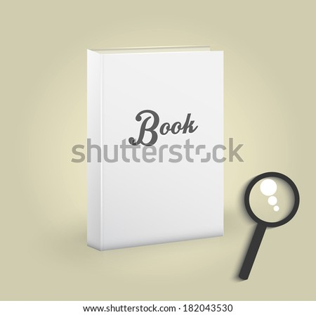 Front view of blank book with magnifying glass - stock vector