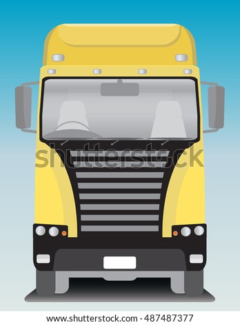 Front view of Cargo truck Vector Illustration