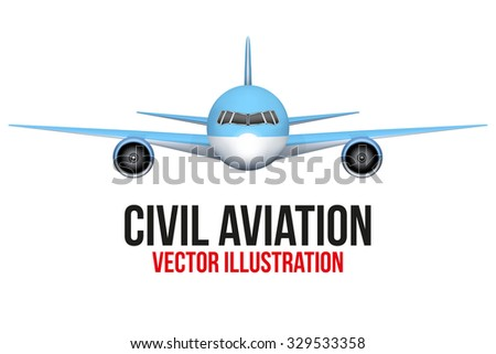 Front view of Civil Aircraft.  Airplane and flying machine. Editable Vector Illustration isolated on background. - stock vector