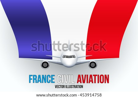Front view of Civil Aircraft with flag of France. Public or private plane. For business and travel design. Vector Illustration isolated on background.