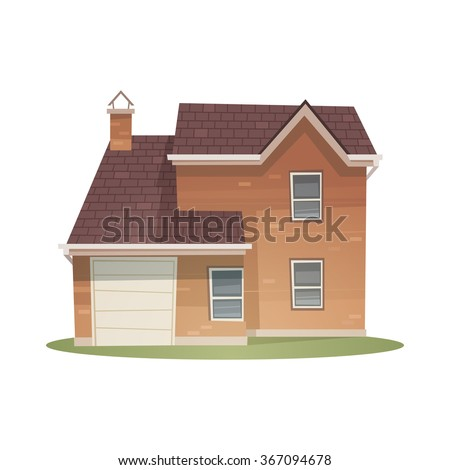 Front view of family house, cartoon vector illustration.