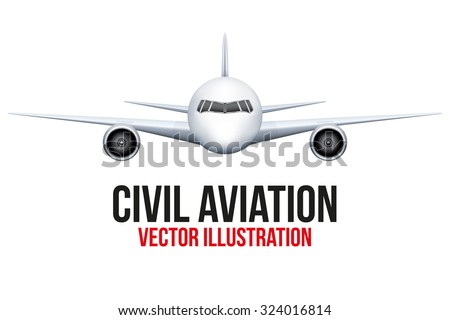 Front view of fictional Civil Aircraft. Airplane and flying machine. Vector Illustration isolated on background.