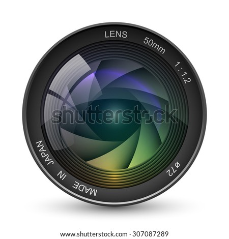 front view photo camera lens vector stock vector 307087289 rh shutterstock com camera lens vector free download camera lens vector free
