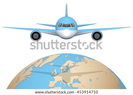 Front view of Plane flies over globe. Civil Aircraft. Public or private plane. For business and travel design. Vector Illustration isolated on background. - stock vector
