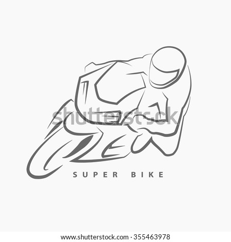 Front view of super bike hand draw logo on gray background.(EPS10 Art vector)