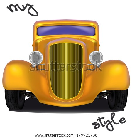Front view of yellow hot rod with the inscription My style formed by tire footprints, isolated on white background - stock vector