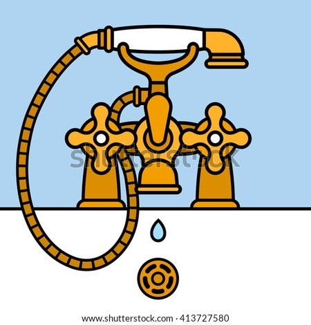 Front view on elegantly designed graphic vector of brass bathtub faucet with shower head dripping water - stock vector