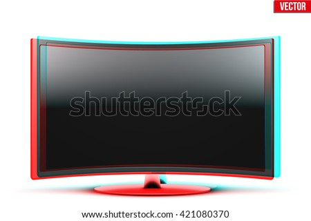 Frontal view of curved widescreen led or lcd tv monitor with visual Anaglyph stereoscopic effect. Vector Illustration isolated on white - stock vector