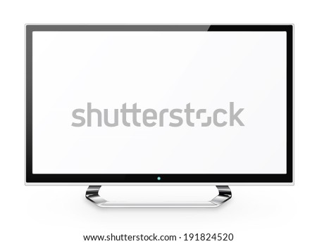 Frontal view of  led or lcd internet tv monitor isolated on white background - stock vector