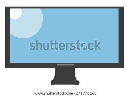 Frontal view of tv monitor, isolated on white bakcground. Vector Illustration - stock vector