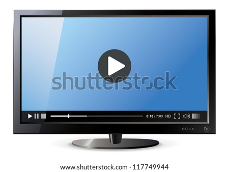 Frontal view of widescreen lcd monitor. Video player. Vector illustration - stock vector