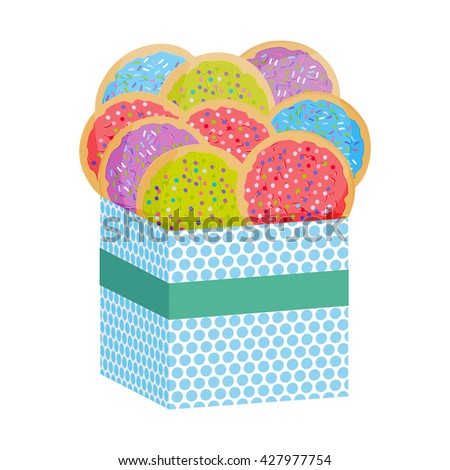 Frosted sugar cookies, Set Italian Freshly baked sugar cookies with pink green violet blue frosting and colorful sprinkles. Present Gift box with biscuits. Bright colors on white background. Vector - stock vector