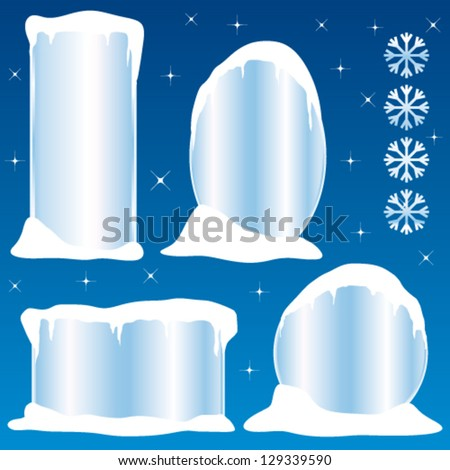 Frozen frames collection II. Vector commercial stickers or banners. - stock vector