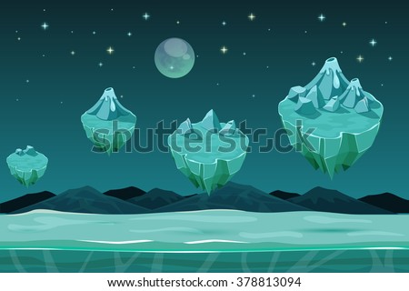 Frozen game planet horizontal background, game pattern with ice islands. Nature landscape game, winter design game with snow. UI game background - stock vector