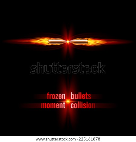 Frozen moment of two bullets collision in orange flame - stock vector