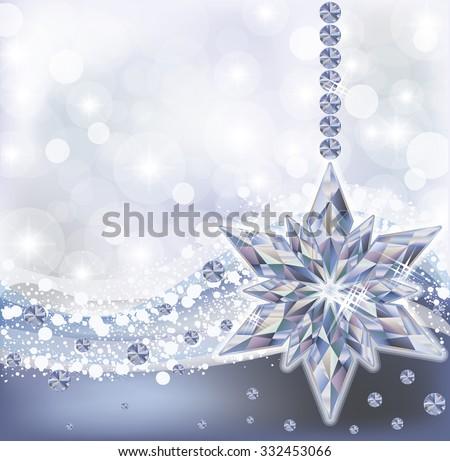 Frozen Wallpaper With Diamond Snowflake Vector Illustration