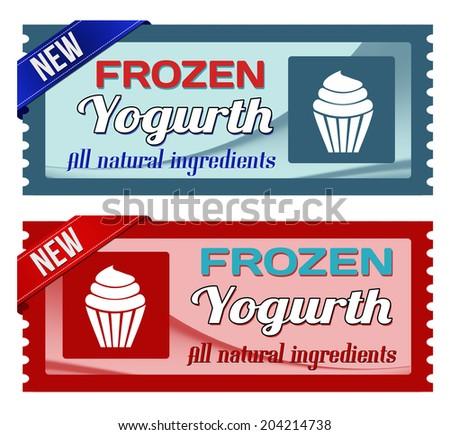 Frozen yogurt coupons on white, vector illustration - stock vector