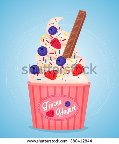 Frozen yogurt in takeaway paper cup. Different flavors. Yogurt cup. Yogurt isolated. Frozen yogurt cup. Sweet dessert. Cold dessert. Milk dessert. Fruit frozen yogurt. Berries frozen yogurt. - stock vector