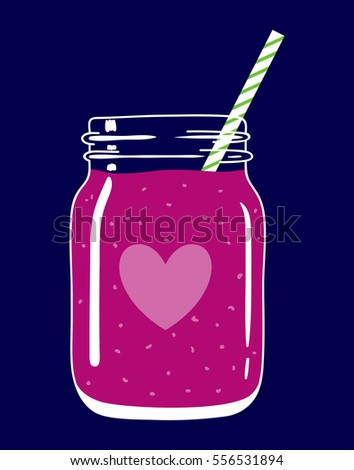 Fruit and berry smoothie in mason jar with striped straw and heart. Romantic smoothie. Valentine's day healthy drink. Fresh natural beverage, isolated.  Vector hand drawn illustration eps10.
