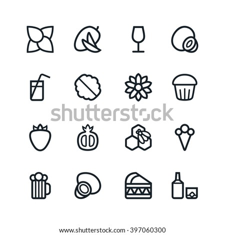 Fruit and desert icons in thin line style. Black print on white background - stock vector