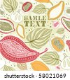 fruit and flower seamless card - stock vector