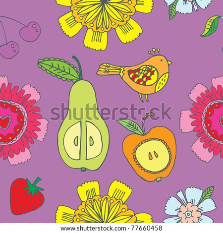 fruit and flower seamless pattern - stock vector