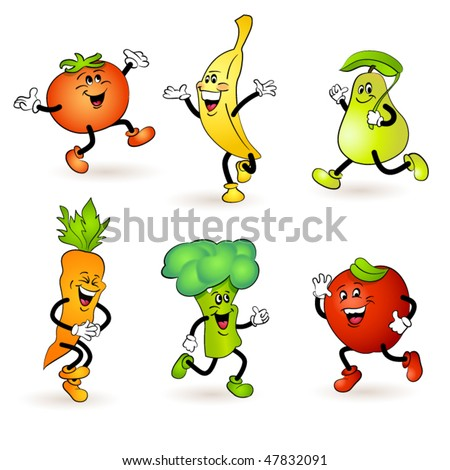 fruit and vegetable characters - stock vector