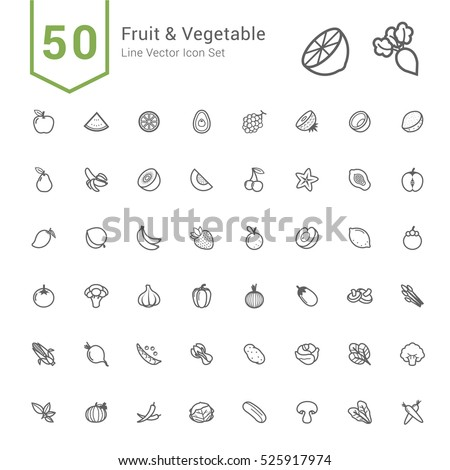 Fruit and Vegetable Icon Set. 50 Line Vector Icons.