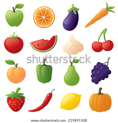 Fruit and vegetable icons.