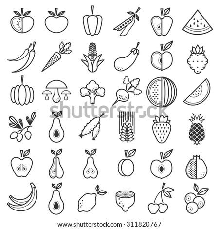 Fruit and Vegetable Icons vector set
