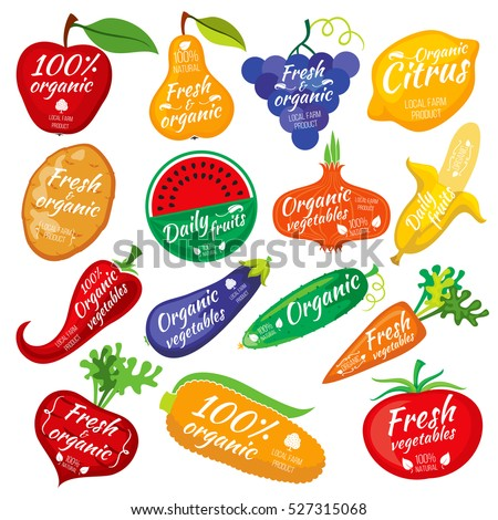 Fruit and vegetables color silhouettes, logo for food store packaging.