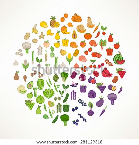 Fruit and vegetables color wheel with food icons, nutrition and healthy eating concept - stock vector
