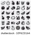 Fruit and Vegetables icon set - stock photo