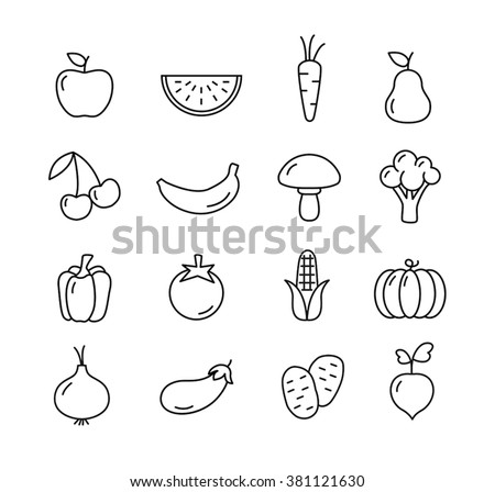 Fruit and vegetables icons set - flat design. Healthy lifestyle. Eco, organic fruit and vegetables. - stock vector