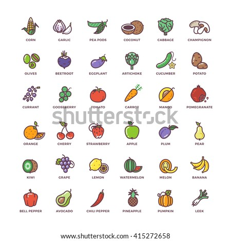 Fruit and vegetables line vector icons with flat elements. Vegetable food, element fruit, sign fruit and vegetables set, fruit and vegetables illustration - stock vector