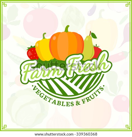 Fruit and vegetables logo template. Fruit and vegetables label with sample text. Fruits and vegetables icons for groceries, agriculture stores, packaging and advertising. - stock vector