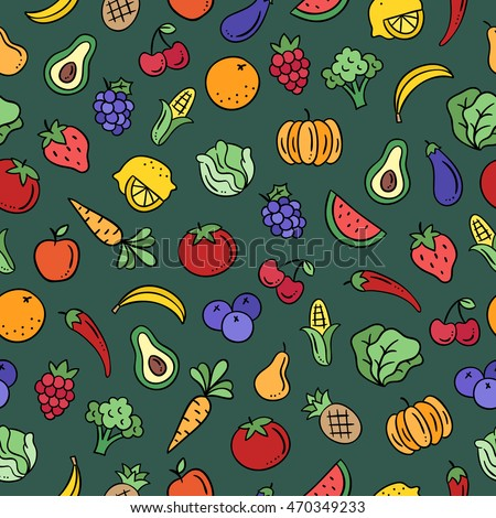 Fruit and vegetables seamless pattern. Cute background with healthy food
