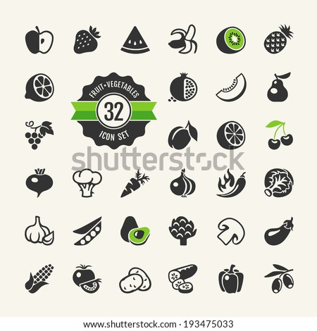 Fruit and Vegetables vector web icon set