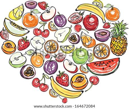 Fruit arranged in heart shape - stock vector