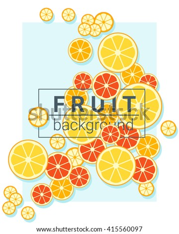 Fruit background with oranges, vector, illustration